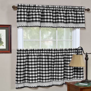 Classic Buffalo Check Kitchen Black and White Tiers and Valances (3 options available)