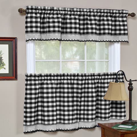 Classic Buffalo Check Kitchen Black and White Tiers Or Valance
