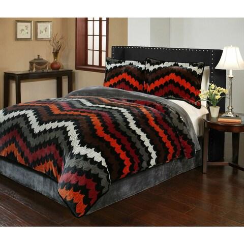 Fedora Velvet Plush Print Comforter Set