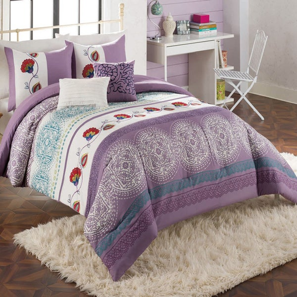 Cayman Embroidered Boho Fashion 5-piece Comforter Set