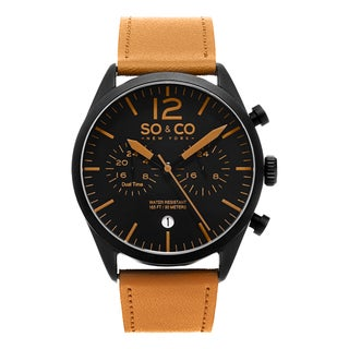 SO&CO New York Men's Monticello Quartz Leather Strap Watch