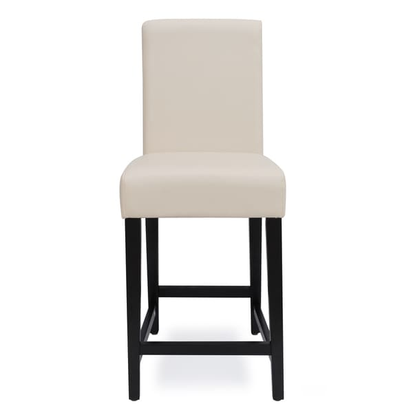 shop somette lorena 24 inch off white bi cast leather counter stool free shipping today. Black Bedroom Furniture Sets. Home Design Ideas
