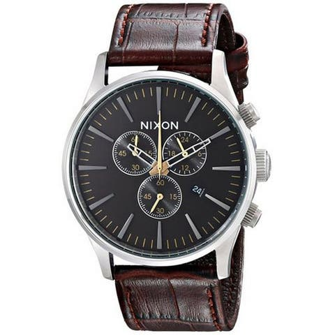 Nixon Men's The Sentry Chrono Brown Gator Leather Watch 42mm