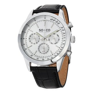 SO&CO New York Men's Monticello Quartz Multifunction Watch with Black Leather Strap