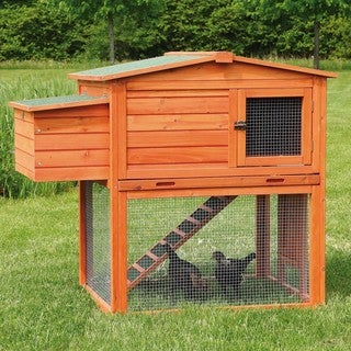 2-Story Chicken Coop with Outdoor Run - brown