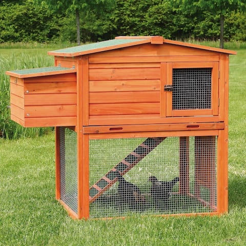 TRIXIE 2-Story Chicken Coop with Outdoor Run - brown