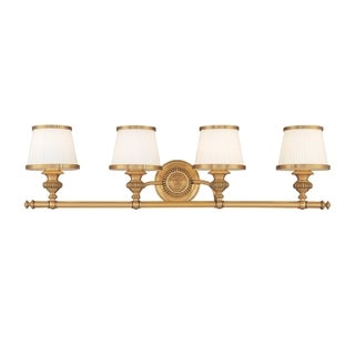 Hudson Valley Milton 4-light Vanity, Flemish Brass with Opal