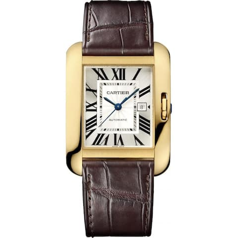 Cartier Men's W5310030 'Tank Anglaise' 18kt Yellow Gold Automatic Brown Leather Watch