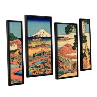 ArtWall Katsushika Hokusai 'Tea Plantation In Suruga Province' 4 Piece Gallery-wrapped Canvas Staggered Set