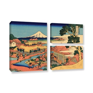 ArtWall Katsushika Hokusai 'Tea Plantation In Suruga Province' 3 Piece Gallery-wrapped Canvas Flag Set