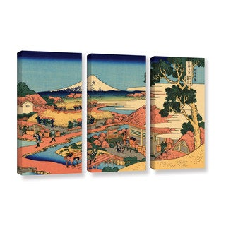 ArtWall Katsushika Hokusai 'Tea Plantation In Suruga Province' 3 Piece Gallery-wrapped Canvas Set