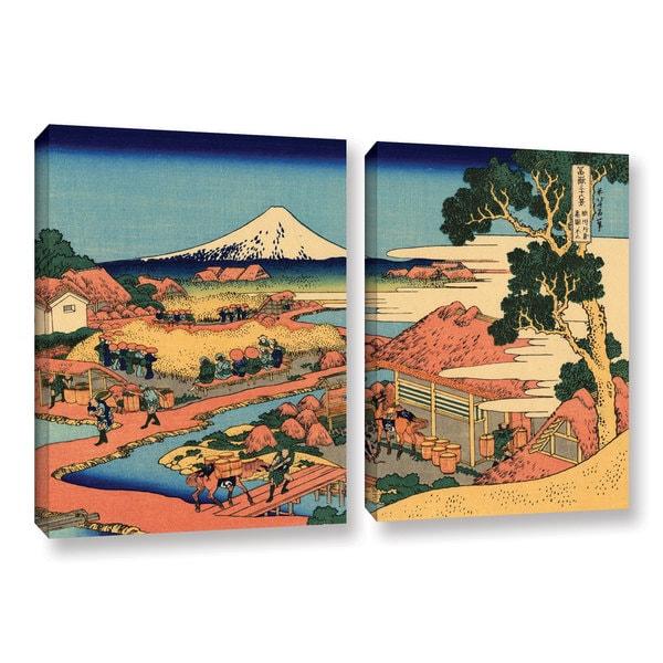 ArtWall Katsushika Hokusai 'Tea Plantation In Suruga Province' 2 Piece Gallery-wrapped Canvas Set