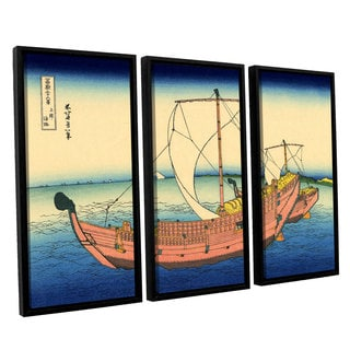 ArtWall Katsushika Hokusai 'The Kazusa Province Sea Route' 3 Piece Floater Framed Canvas Set