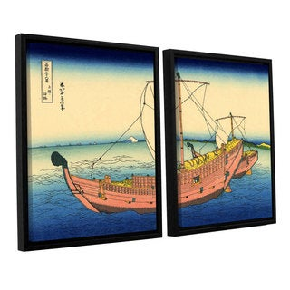 ArtWall Katsushika Hokusai 'The Kazusa Province Sea Route' 2 Piece Floater Framed Canvas Set