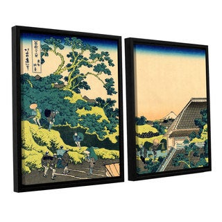 ArtWall Katsushika Hokusai 'The Fuji Seen From The Mishima Pass' 2 Piece Floater Framed Canvas Set