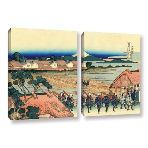ArtWall Katsushika Hokusai 'Nakahara in The Sagami Province' 2 Piece Gallery-wrapped Canvas Set