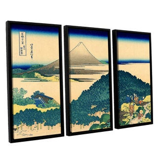 ArtWall Katsushika Hokusai 'The Coast Of Seven Leages In Kamajura' 3 Piece Floater Framed Canvas Set