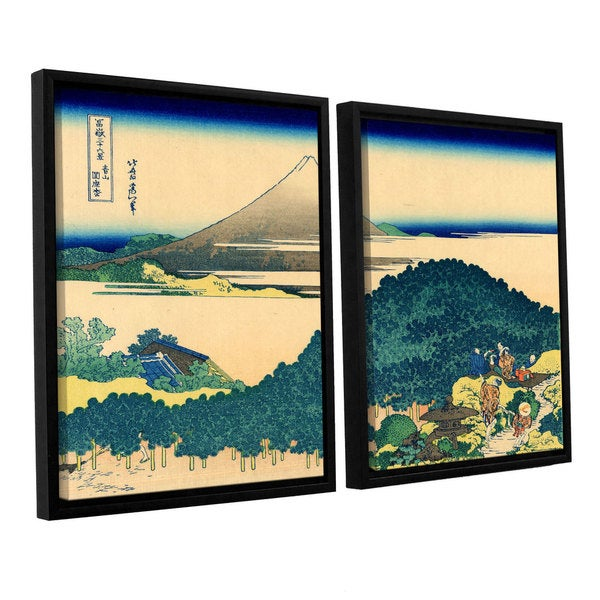 ArtWall Katsushika Hokusai 'The Coast Of Seven Leages In Kamajura' 2 Piece Floater Framed Canvas Set