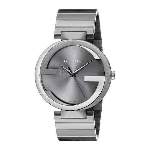 Gucci Men's YA133210 'Interlocking G' Grey Stainless Steel Watch