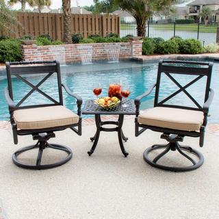 Lakeview Outdoor Designs Carrolton 2-Person Cast Aluminum Patio Bistro Set with Swivel Rockers