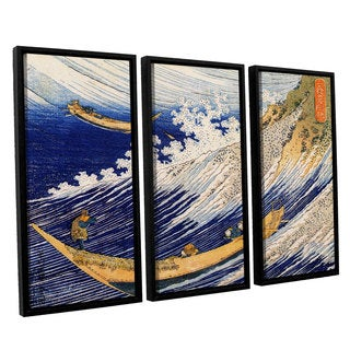 ArtWall Katsushika Hokusai 'Ocean Waves' 3 Piece Floater Framed Canvas Set