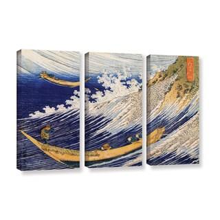 ArtWall Katsushika Hokusai 'Ocean Waves' 3 Piece Gallery-wrapped Canvas Set
