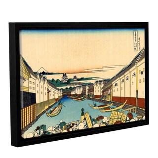 ArtWall Katsushika Hokusai 'Nihonbashi Bridge In Edo' Gallery-wrapped Floater-framed Canvas