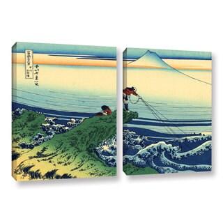 ArtWall Katsushika Hokusai 'Kajikazawa In Kai Province' 2 Piece Gallery-wrapped Canvas Set