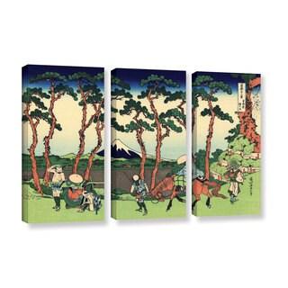ArtWall Katsushika Hokusai 'Hodogaya On The Tokaido' 3 Piece Gallery-wrapped Canvas Set