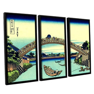 ArtWall Katsushika Hokusai 'Fuji See Through The Mannen Bridge At Fukagawa' 3 Piece Floater Framed Canvas Set