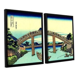 ArtWall Katsushika Hokusai 'Fuji See Through The Mannen Bridge At Fukagawa' 2 Piece Floater Framed Canvas Set