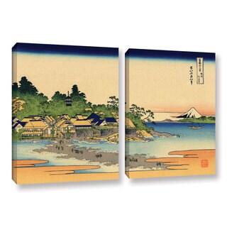 ArtWall Katsushika Hokusai 'Enoshima In The Sagami Province' 2 Piece Gallery-wrapped Canvas Set