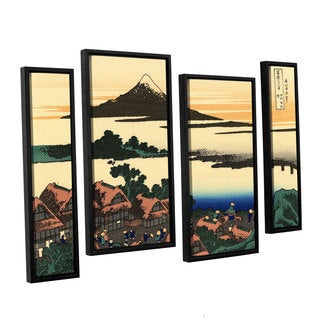 ArtWall Katsushika Hokusai 'Dawn At Isawa In The Kai Province ' 4 Piece Floater Framed Canvas Staggered Set