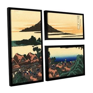 ArtWall Katsushika Hokusai 'Dawn At Isawa In The Kai Province ' 3 Piece Floater Framed Canvas Flag Set
