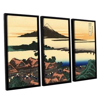 ArtWall Katsushika Hokusai 'Dawn At Isawa In The Kai Province ' 3 Piece Floater Framed Canvas Set