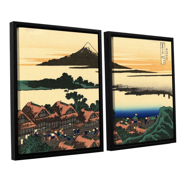 ArtWall Katsushika Hokusai 'Dawn At Isawa In The Kai Province ' 2 Piece Floater Framed Canvas Set