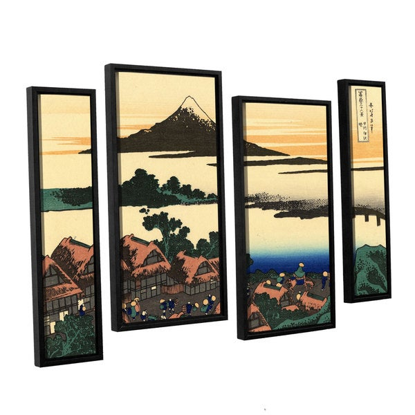 ArtWall Katsushika Hokusai 'Dawn At Isawa In The Kai Province ' 4 Piece Gallery-wrapped Canvas Staggered Set