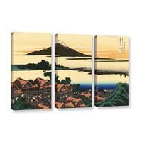 ArtWall Katsushika Hokusai 'Dawn At Isawa In The Kai Province ' 3 Piece Gallery-wrapped Canvas Set