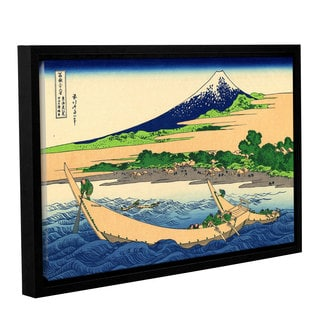 ArtWall Katsushika Hokusai 'A Fishing Boat With Mt Fuji' Gallery-wrapped Floater-framed Canvas