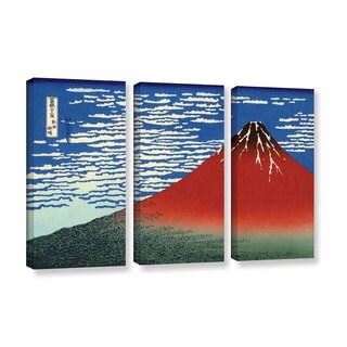 ArtWall Katsushika Hokusai 'Red Fuji' 3 Piece Gallery-wrapped Canvas Set