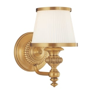 Hudson Valley Milton 1-light Vanity, Flemish Brass with Opal