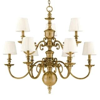 Hudson Valley Charleston 9-light Chandelier, Aged Brass