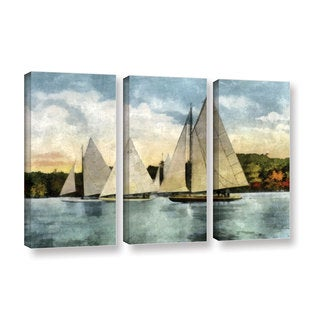 ArtWall Kevin Calkins ' Yachting  In Autumn  3 Piece ' Gallery-Wrapped Canvas Set