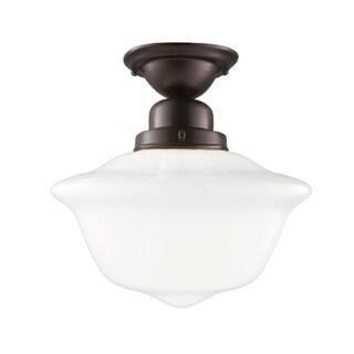 Hudson Valley Edison 1-light 12 inch Semi Flush, Old Bronze