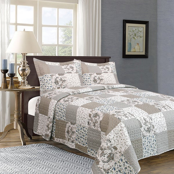 Home Fashion Designs Longmeadow Collection 3-Piece Printed Quilt Set with Shams