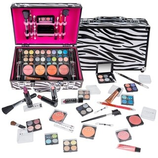 Shany Carry All Makeup Train Case with Pro Makeup and Reusable Aluminum Zebra Case - Multi-color
