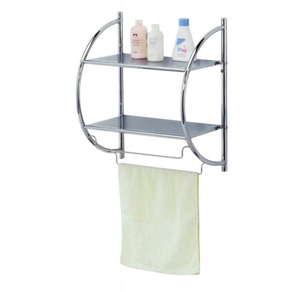 Shop Home Basics Chrome Bathroom Shelf with Towel Rack - Silver ...