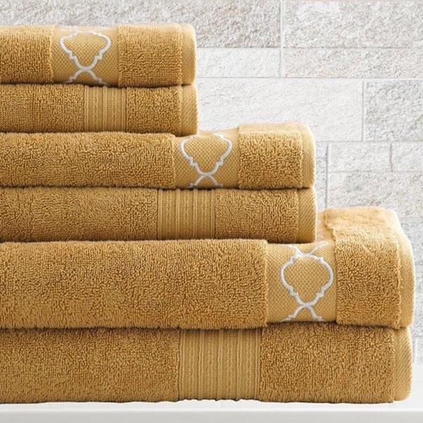 Amraupur Overseas Jewel Tone Quatrefoil 6-Piece Towel Set