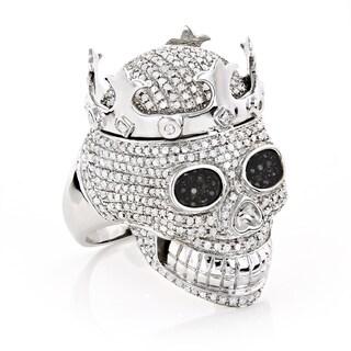 Luxurman 10k White Gold 2 3/4ct TDW Black and White Diamond Skull King Ring (H-I, SI1-SI2 )