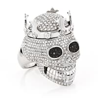 Luxurman 10k White Gold 2 3/4ct TDW Black and White Diamond Skull King Ring